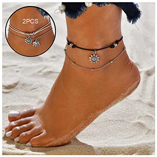NewChiChi 2PCS Boho Layered Anklet Bracelet Handmade Rope Adjustable Beach Foot Jewelry for Women Girls(Cute (Elephant Anklet)