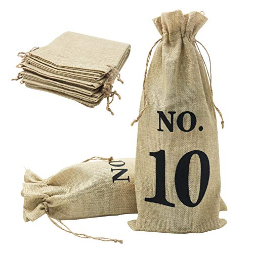 Shintop 10pcs Jute Wine Bags, 14 x 6 1/4 inches Hessian Wine Bottle Gift Bags with Drawstring for Blind Wine Tasting (Numbered, Brown)