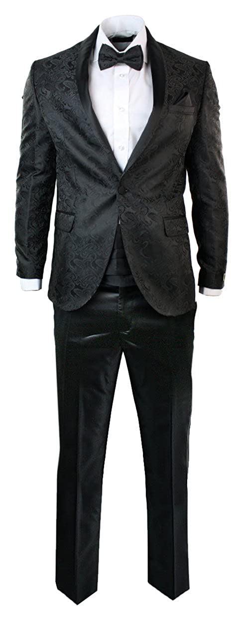 Mens Black Embroydary Dinner Party Suit Tuxedo Slim Fit Cummerband & Bow Tie