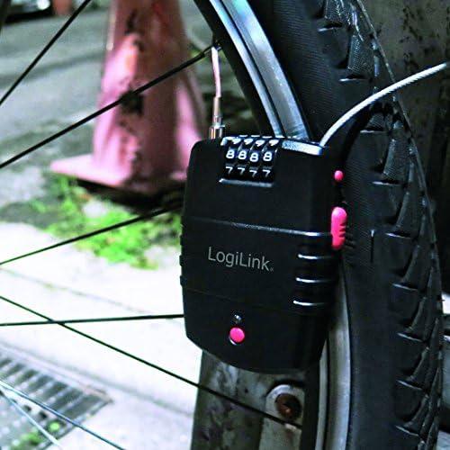 Color Negro SC0211 Negro 1/Pieza LogiLink Candado de Seguridad con funci/ón de Alarma para Uso con o sin Alarma