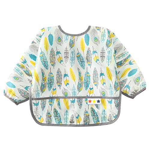 Price comparison product image Kids Eating Bib Adjustable Washable Bibs Lightweight Long Sleeve Smocks Painting Stain and Odor Resistant Aprons Cute Waterproof Bibs for Baby Toddler 1-2 Years