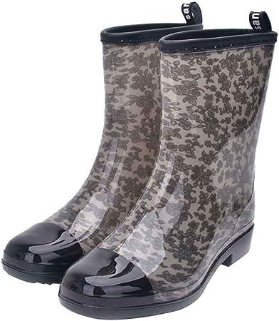 Botas de Eje Largo para Mujeres,ZARLLE Botas de Agua Mujer Lluvia con Goma Altas Zapatos Impermeable Ajustable Boots 36-41