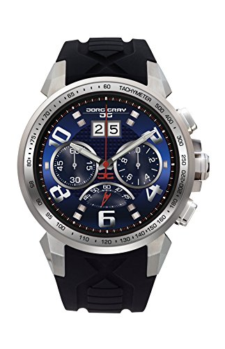 Jorg Gray JG5600-23 Men's Watch Chronograph Blue Dial with Integrated Black Silicone Strap by Jorg Gray