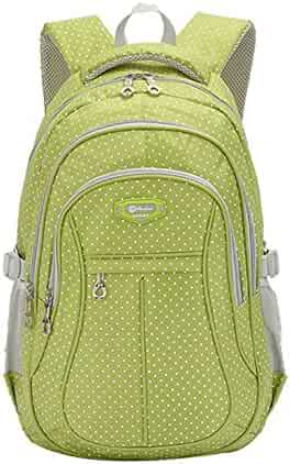 283b3bdf5f3 JiaYou Girl Multipurpose Dot Primary Junior High University School Bag  Bookbag Backpack (Large, Green