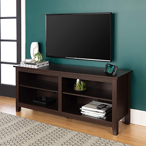 WE Furniture Minimal Farmhouse Wood Stand for TV s up to 64 Living Room Storage, 58 Inch, Espresso