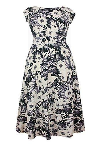 Damen Kleid Creme Graues Blumenmuster Knielänge Übergröße ...