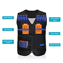 Yosoo Kids Elite Tactical Vest + 10pcs Soft Foam Darts +2 Dart Clips for Nerf Gun N-strike Elite Series