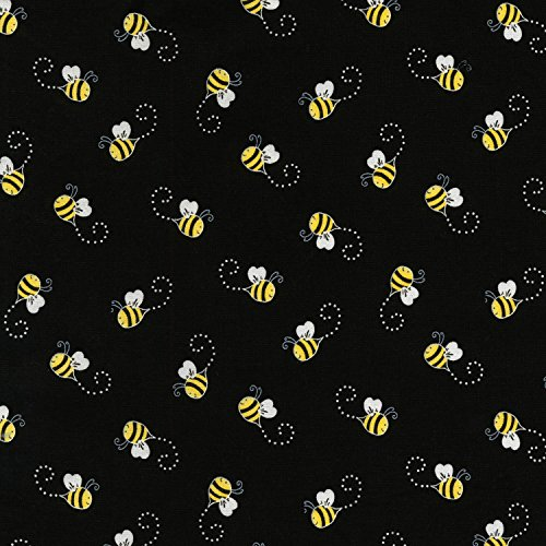 Black and Yellow Bees, Swirl About, You are My Sunshine, Timeless Treasures, C5496-BLACK, by The Yard ()