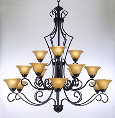 "Large Foyer Or Entryway Wrought Iron Chandelier H51"" X W49"""
