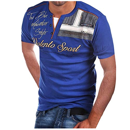 Fashion Mens Letter Button Personality Shirt Short Sleeve T-Shirt Blouse Tops Blue -