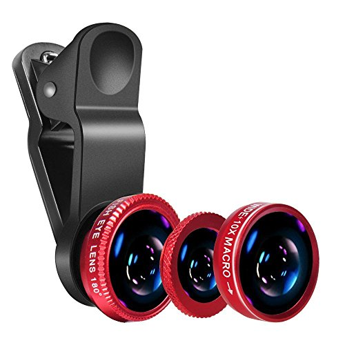 Universal Phone Camera Lens - Luxsure 3 in 1 Phone Lens Kit with 180° Fisheye Len + Super Wide Angle Lens + 10X Macro Lens for iPhone 7/6s Plus/6s/6/6 Plus Samsung iPad and Most Smartphones (Red)