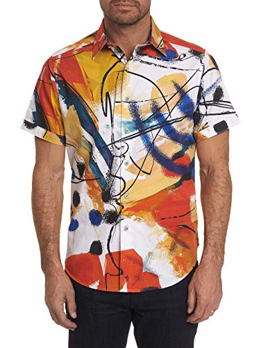 Robert Graham Broad Ave Short Sleeve Printed Sport Shirt Classic Fit Multicolor Large from Robert Graham