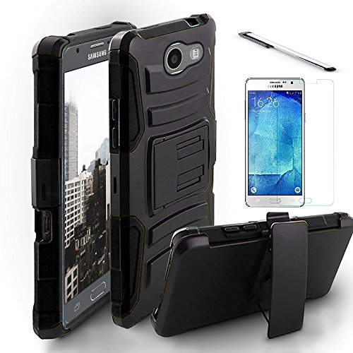 Samsung Galaxy J7 Perx case, J7 Sky Pro case, J7V J7 V case, Luckiefind Dual Layer Hybrid Side Kickstand Cover Case With Holster Clip, Stylus Pen & Tempered Glass screen protector (Holster Black)