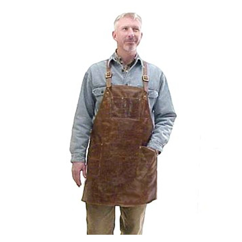 Moonshine Leather Co. - Cross-Back Pocketed Workshop Apron - Bladesmith, Forging, Blacksmith, Woodcarver, Watchmaker, Engraver, Farrier - Made in the USA (Regular)
