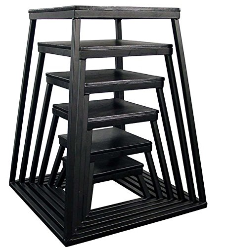 Ader Plyometric Platform Box Set- 6'', 12'', 18'', 24'', 30'', 36'', 42'' Black by Ader Sporting Goods