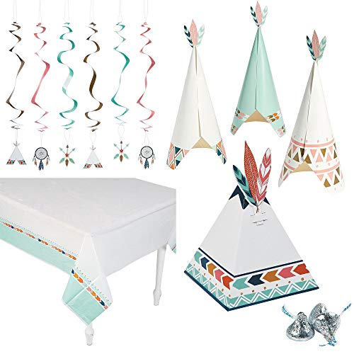 Fun Express Tribal Baby Party Bundle | Table Cover, Hanging Decors, Centerpieces, Favor Boxes | Great for Baby Shower, Boho Themed Event, Gender Reveal, Kids Birthday Party, Bohemian Party Supplies]()
