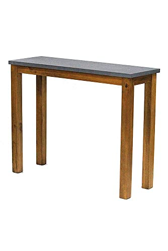 Heather Ann Creations 31.5 Montana Wood Finish with Cement Look Top Handmade Rustic Farm Style Console Table Writing Desk
