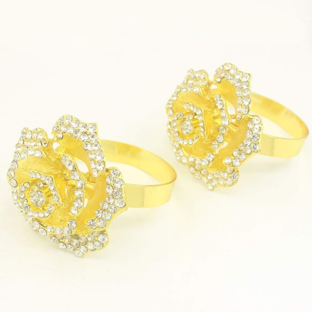 Culturemart Metal Alloy Table Napkin Ring Holder Diamond Christmas Crystal Rhinestone Gold Rings for Weddings Paper Flowers 1piece