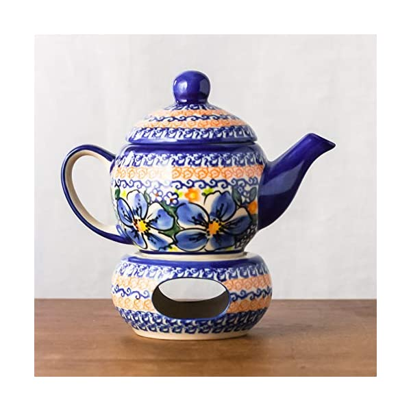 Polish Pottery, Handpainted and Handcrafted Teapot Candle Warmer ― Blue Flowers Artistic Pattern (A506)