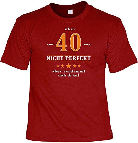 Modisches Herren Fun-T-Shirt als ideale Geschenkeidee im Set zum 40. Geburtstag + Mini Tshirt Baujahr 1977 Farbe: dunkelrot