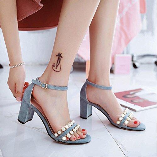 YEEY Sandalias de tacón grueso abierto del dedo del pie del zapato del talón del verano para las mujeres Blue