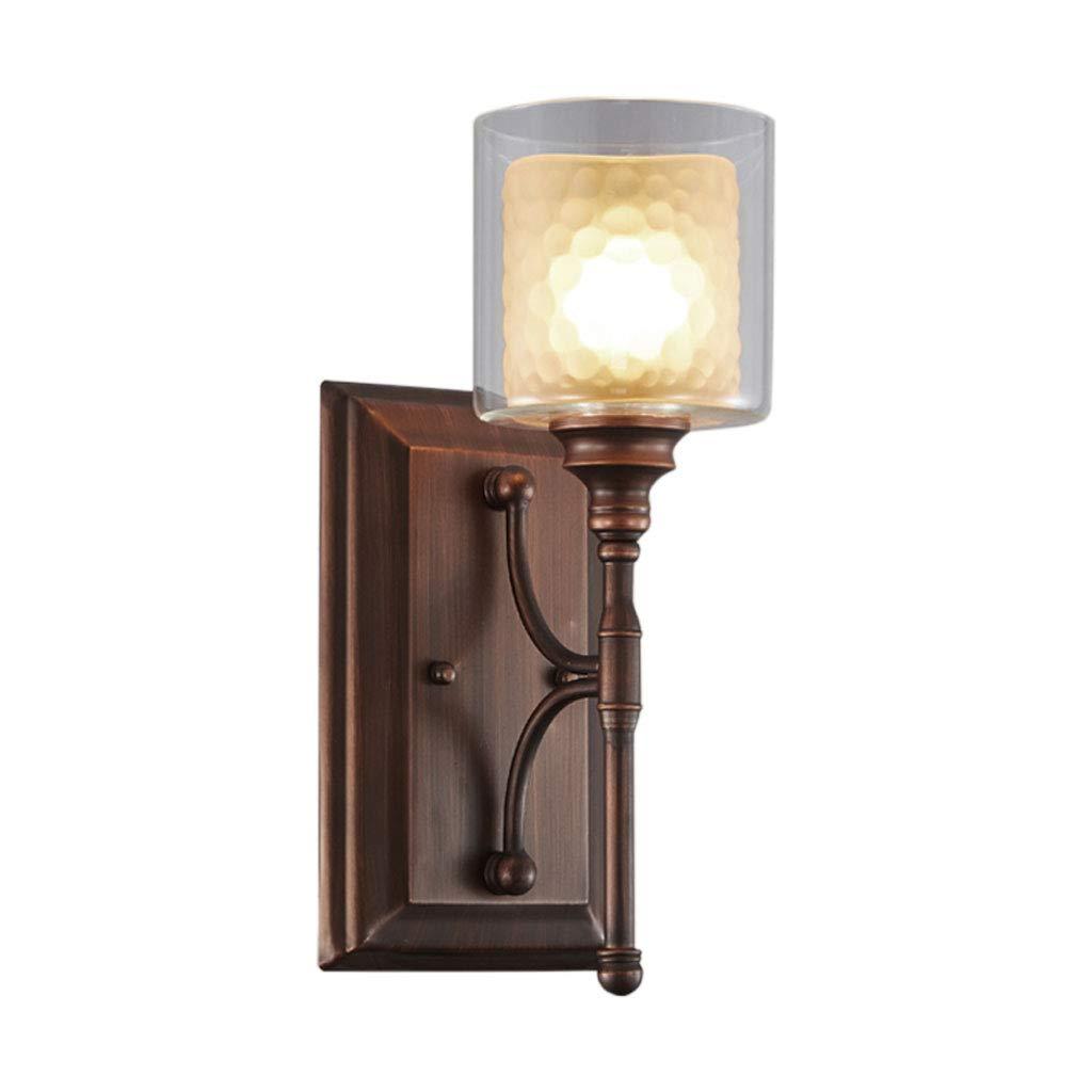 Unbekannt HUYP Wandleuchte Wohnzimmer Schlafzimmer Nachttischlampe TV Wand Schmiedeeisen Ganglampe (Größe   S)