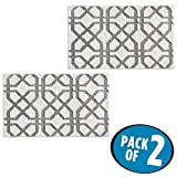 mDesign Soft Microfiber Polyester Non-Slip Rectangular Spa Mat Rugs, Plush Water Absorbent, Trellis Design - for Bathroom Vanity, Bathtub/Shower, Machine Washable - 34'' x 21'' - Pack of 2, White/Stone