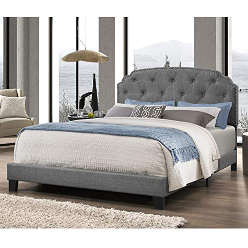 - DG Casa 9850-Q-GRY Wembley Tufted Upholstered Panel Bed Frame with Nailhead Trim Headboard, Queen Size in Grey Linen Style Fabric