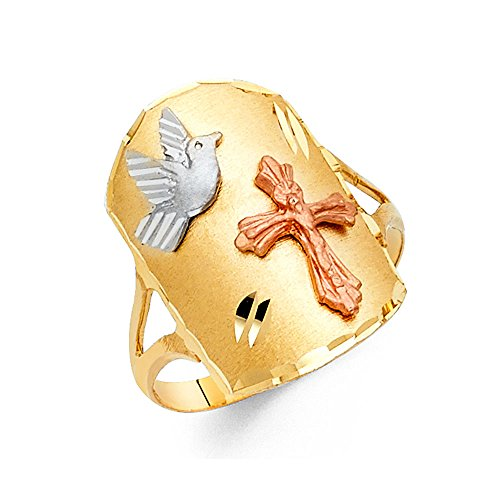 Solid 14k Yellow White Rose Gold Cross & Dove Tag Ring Good Luck Charm Band Tri Color 20MM, Size 9