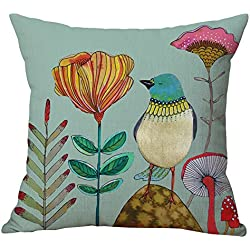 Pidada Cotton Blend Linen Square Throw Pillow Case Flowers and Birds Pattern Decorative Cushion Case Cushion Cover Pillowcase for Sofa Bed Chair Bench 18 X 18 Inch (Green 2)