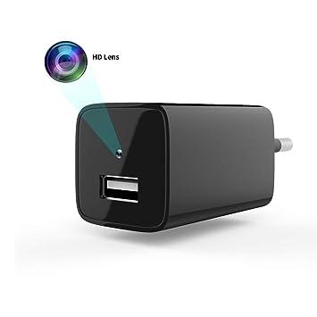 KingOne Cámara teléfono, Cámara detección Movimiento Full 1080P Mini USB Pared Cámara Cámara Seguridad Niñera Cámara con Tarjeta SD Interna Negro: ...