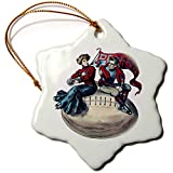 3dRose AmansMall Sports and Typography - Vintage College Football Pennsylvania Banner Image, 3drsmm - 3 inch Snowflake Porcelain Ornament (ORN_291816_1)