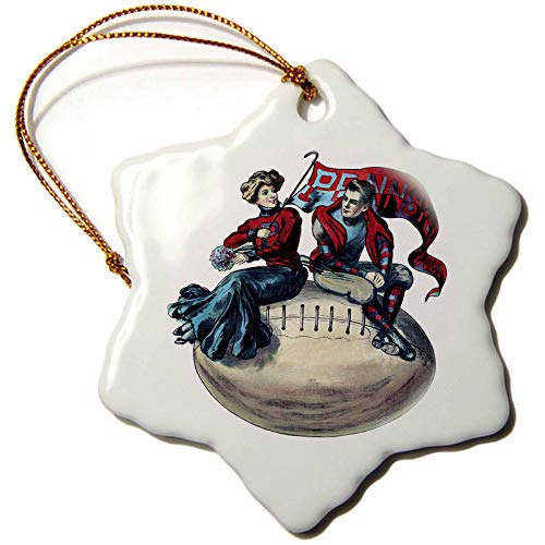 3dRose AmansMall Sports and Typography - Vintage College Football Pennsylvania Banner Image, 3drsmm - 3 inch Snowflake Porcelain Ornament (ORN_291816_1) by 3dRose (Image #1)