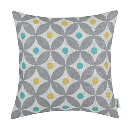 CaliTime Canvas Throw Pillow Cover Case for Couch Sofa Home Decoration Modern Circles Rings with Colorful Dots Geometric 18 X 18 Inches Grey