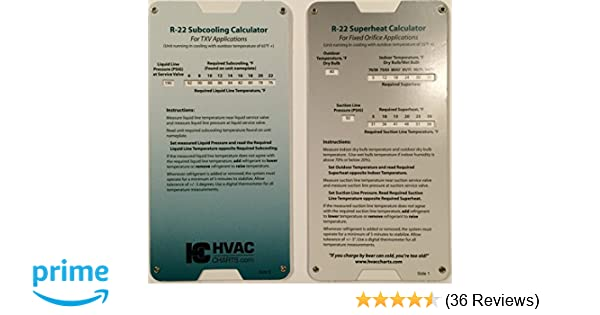 Amazon com: R22 Superheat Subcooling Calculator Charging