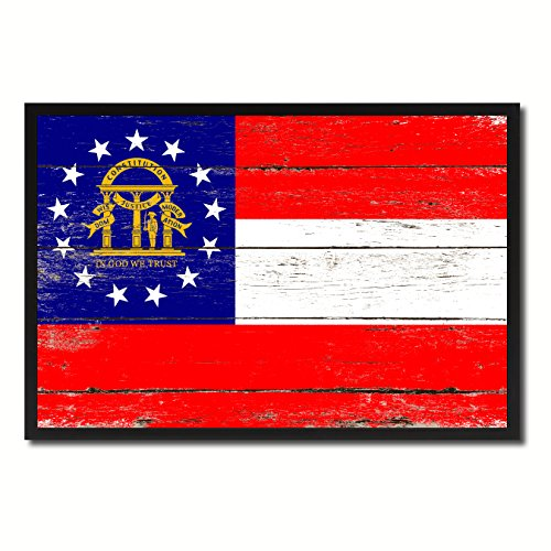 (Georgia State Flag Vintage Canvas Print with Black Picture Frame Gift Ideas Home Decor Wall Art Decoration, 7