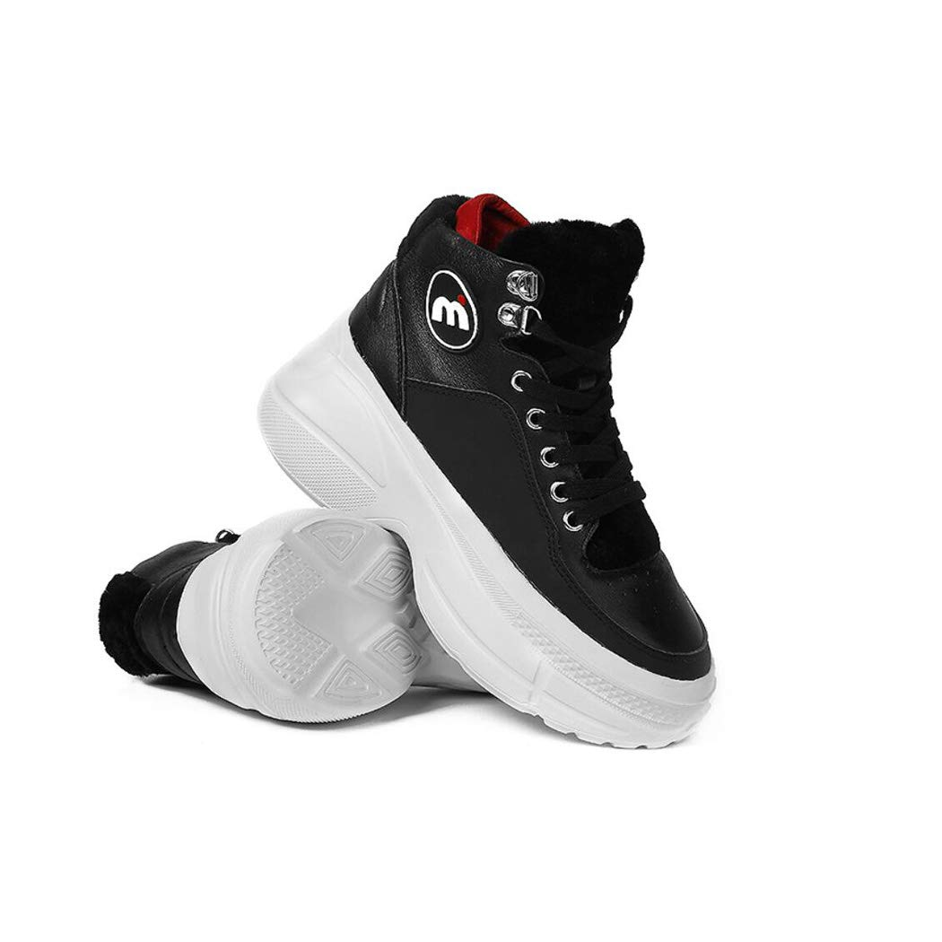 Cvbnm Womens Shoes Warm Sports Shoes Non-Slip Shoes Autumn and Winter New Snow Boots Wool Womens Leather