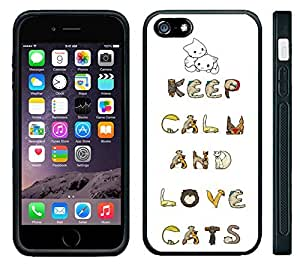 meilinF000Apple iPhone 6 Black Rubber Silicone Case - Keep Calm and Love Cats Very Cute cat loversmeilinF000