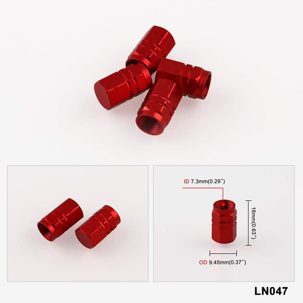 Tire Valve Stem Caps 4 Pcs Set M12*1.5 with 19mm and 21mm Hex Key Red RYANSTAR Wheel Lug Nuts 20Pcs