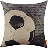 LINKWELL 18x18 Vintage Football Most Popular Sports in The World with Small Words for Man Cave Burlap Throw Pillow Case Cushion Cover (CC1121)