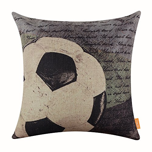 """LINKWELL 18""""x18"""" Vintage Football Most Popular Sports in The World with Small Words for Man Cave Burlap Throw Pillow Case Cushion Cover (CC1121)"""