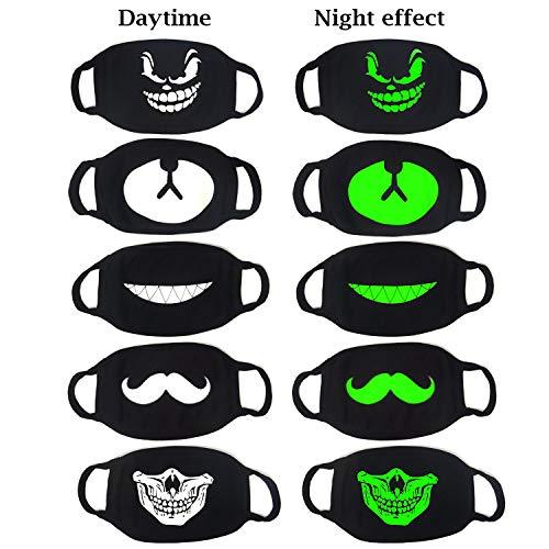 Honbay 5PCS Cool Luminous Face Masks Black Unisex Anti-Dust Cotton Mouth Masks ()
