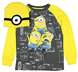 Despicable Me Minion Long Sleeve Graphic Tee with Beanie (Medium)