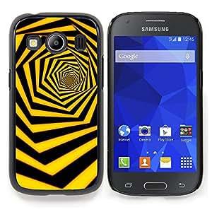 Stuss Case / Funda Carcasa protectora - Negro Amarillo Hexahedron Remolino - Samsung Galaxy Ace Style LTE/ G357