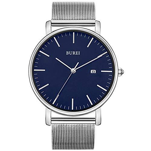 BUREI Men's Watch Ultra Thin Women Quartz Analog Wristwatch Date Calendar Dial Silver Stainless Steel Mesh Band
