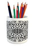 Ambesonne Mandala Pencil Pen Holder, Ethnic Asian Floral Cosmos Symbol Traditional Meditation Pattern Monochrome Print, Printed Ceramic Pencil Pen Holder for Desk Office Accessory, Black White