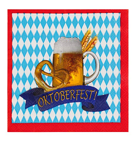 Cocktail Napkins - 100-Pack Disposable Paper Napkins, Oktoberfest Party Supplies, 3-Ply, Beer Pretzel Banner Design, Blue White and Red, Unfolded 10 x 10 Inches, Folded 5 x 5 Inches