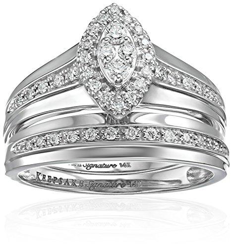 Keepsake Signature 14k White Gold Diamond Marquise Halo R...