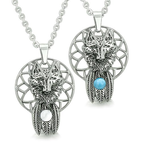 Wolf Dreamcatcher Love Couple Moon Energy Simulated Turquoise White Simulated Cats Eye Pendant Necklaces