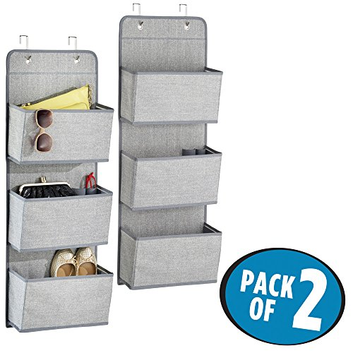 mDesign Over the Door Fabric Closet Storage Organizer for Purses, Shoes, Sunglasses - Pack of 2, 3 Pockets Each, Gray Purse Sunglasses